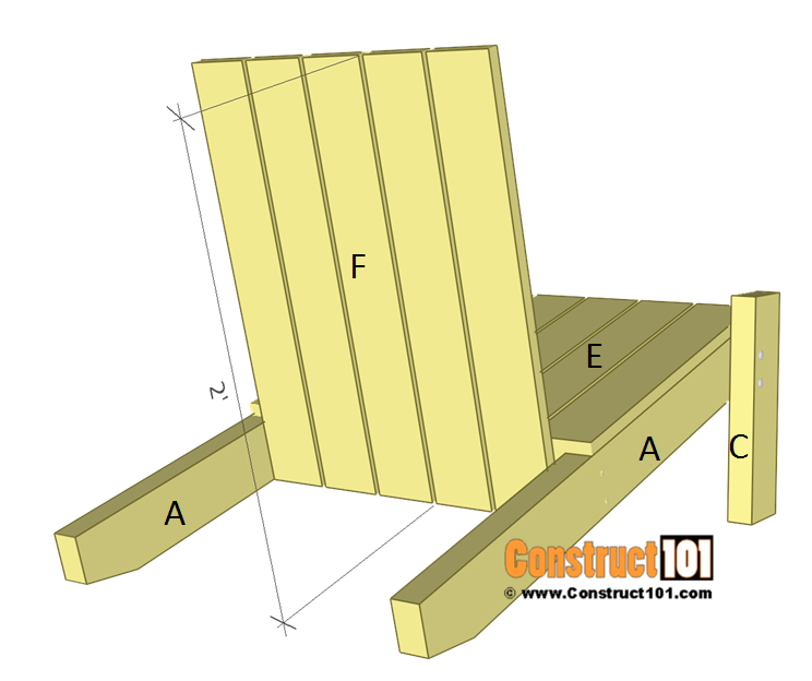 Simple Adirondack chair plans - step 5.