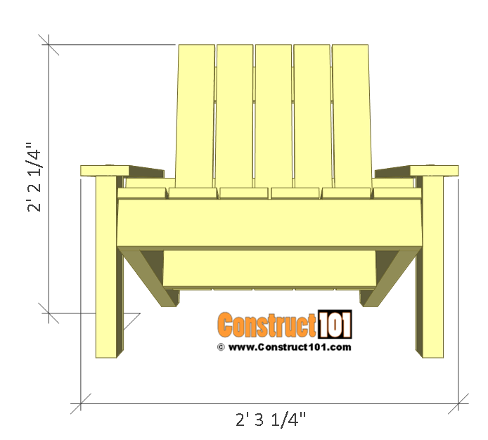 Simple Adirondack chair plans - front view.