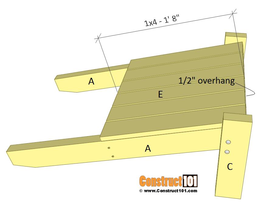Simple Adirondack chair plans - step 5.