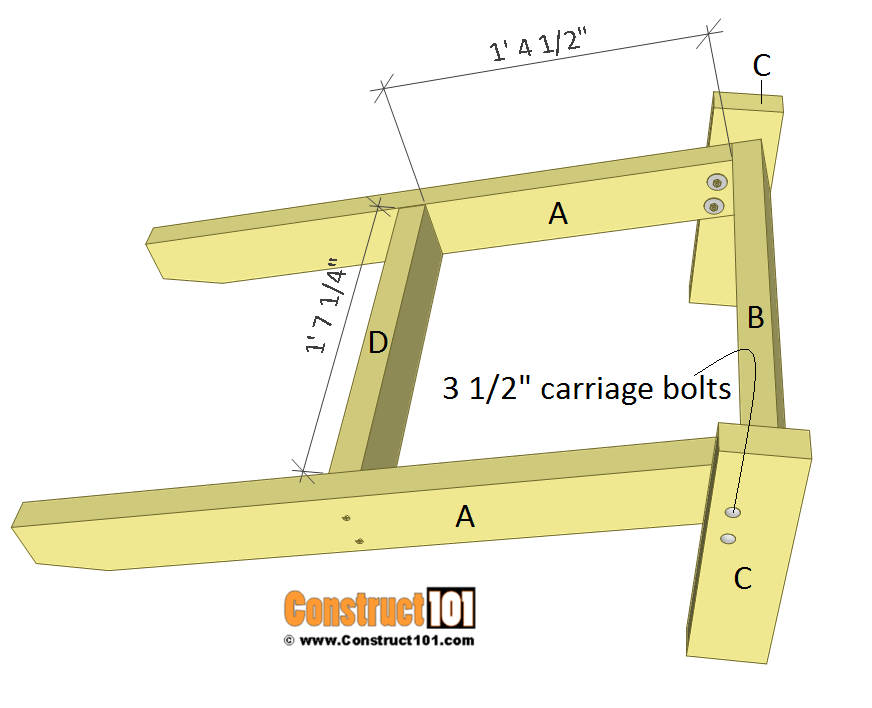 Simple Adirondack chair plans - step 4.