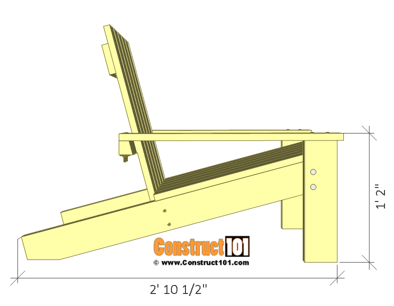 Simple Adirondack chair plans - side view.