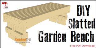 Slatted garden bench plans - free PDF download.