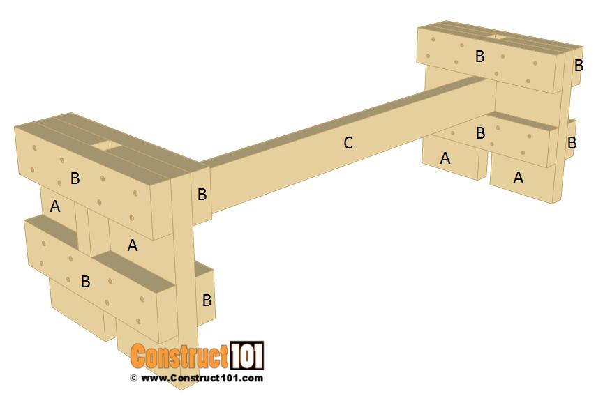 Slatted garden bench plans - step 2.
