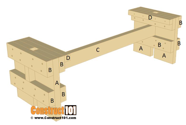 Slatted garden bench plans - step 3.