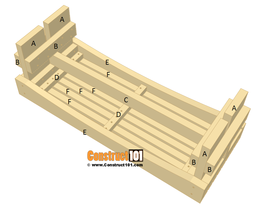 Slatted garden bench plans - step 6.