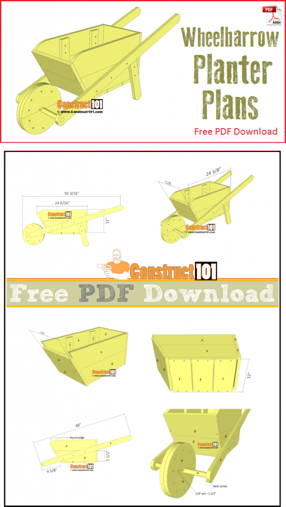 Wheelbarrow planter plans - free PDF download, material list, step-by-step plans.