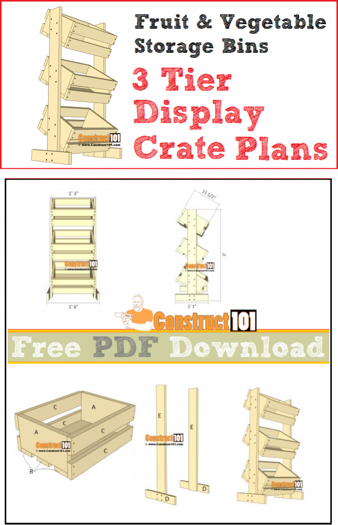 3 Tier Display Crate Plans - Fruit & Vegetable Storage Bins - free PDF download and material list.