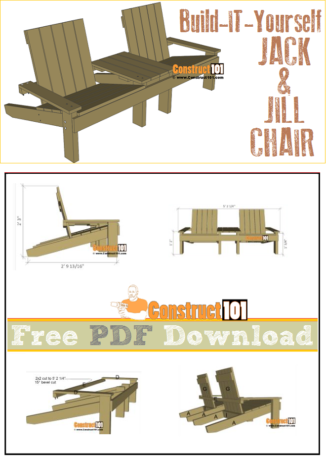 Jack and jill seat plans, include free PDF download, material list, and shopping list.