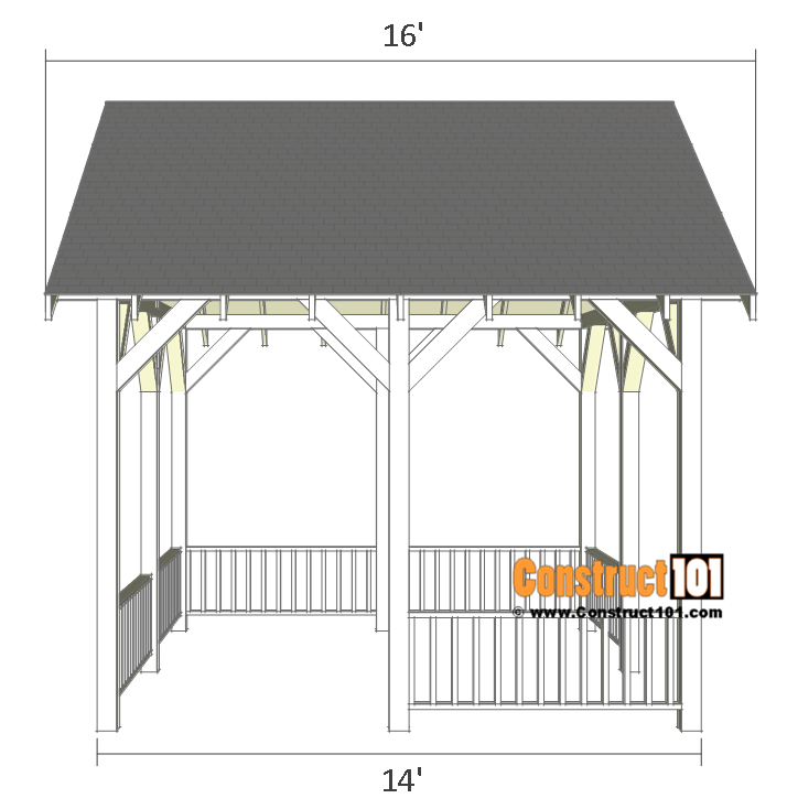 Pavilion plans 14x16 - side view.