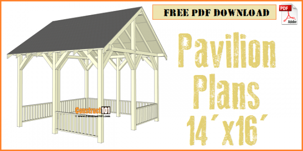 Pavilion plans 14x16 - free PDF download, material list, and step-by-step illustrated instructions.
