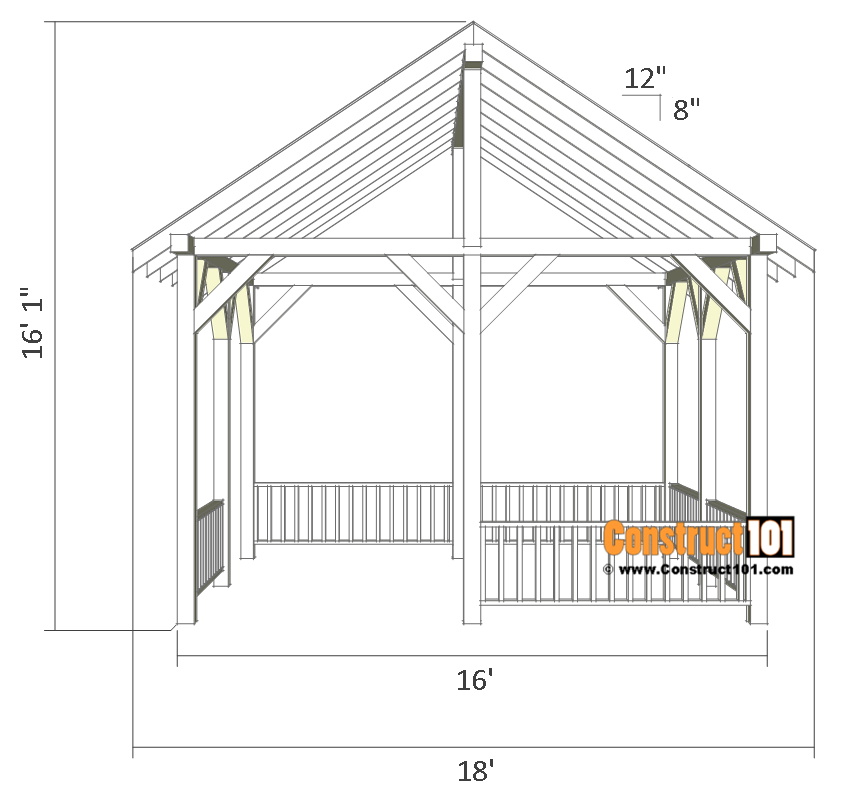 Pavilion Plans 14x16 Diy Free Outdoor Projects Construct101