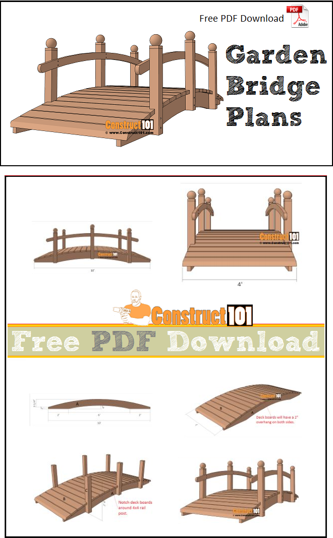 Arched garden bridge plans free PDF download, material list, and step-by-step instructions.