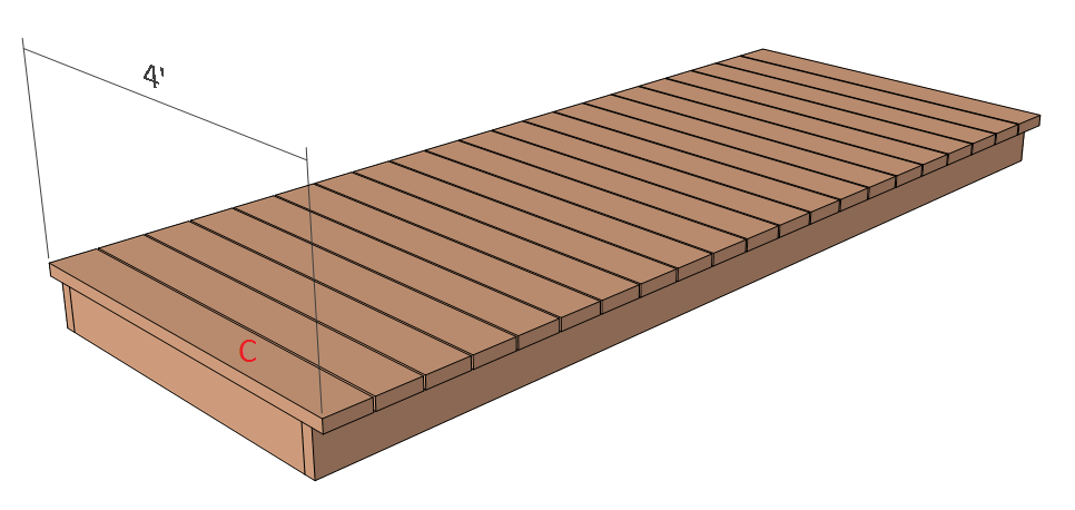 Flat deck garden bridge plans - step 2