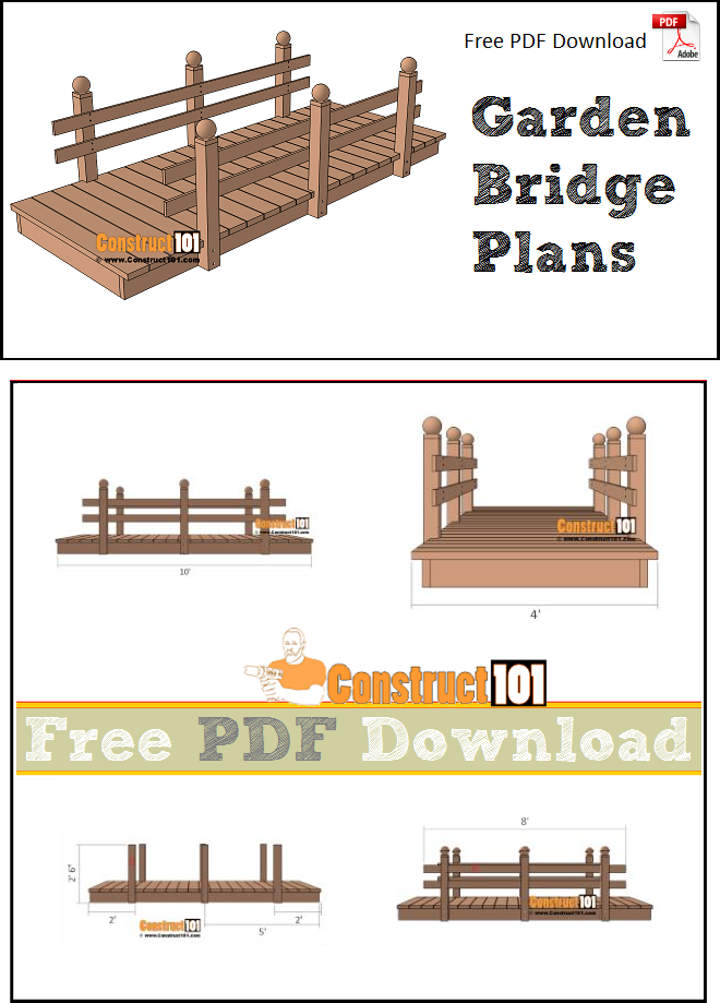 Flat garden bridge plans, free PDF download, material list, and step-by-step drawings.