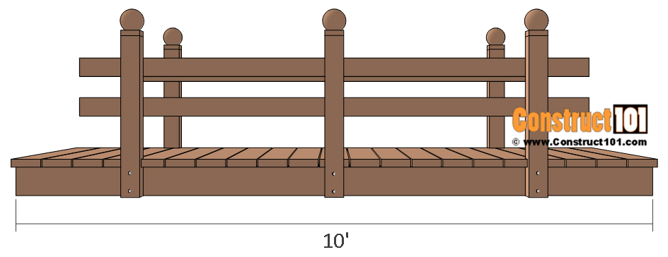 Flat deck garden bridge plans side view.