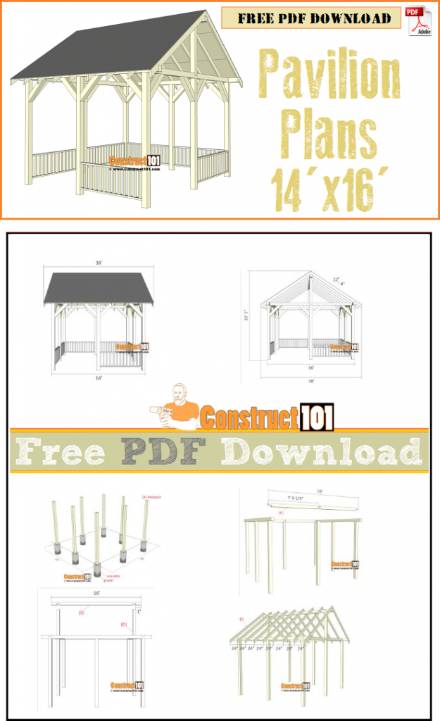 Pavilion plans 14x16 free PDF download, material list, and step-by-step drawings.