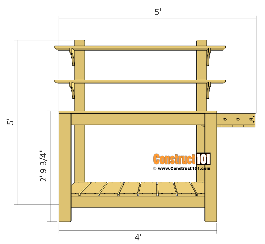 Simple potting bench plans front view.