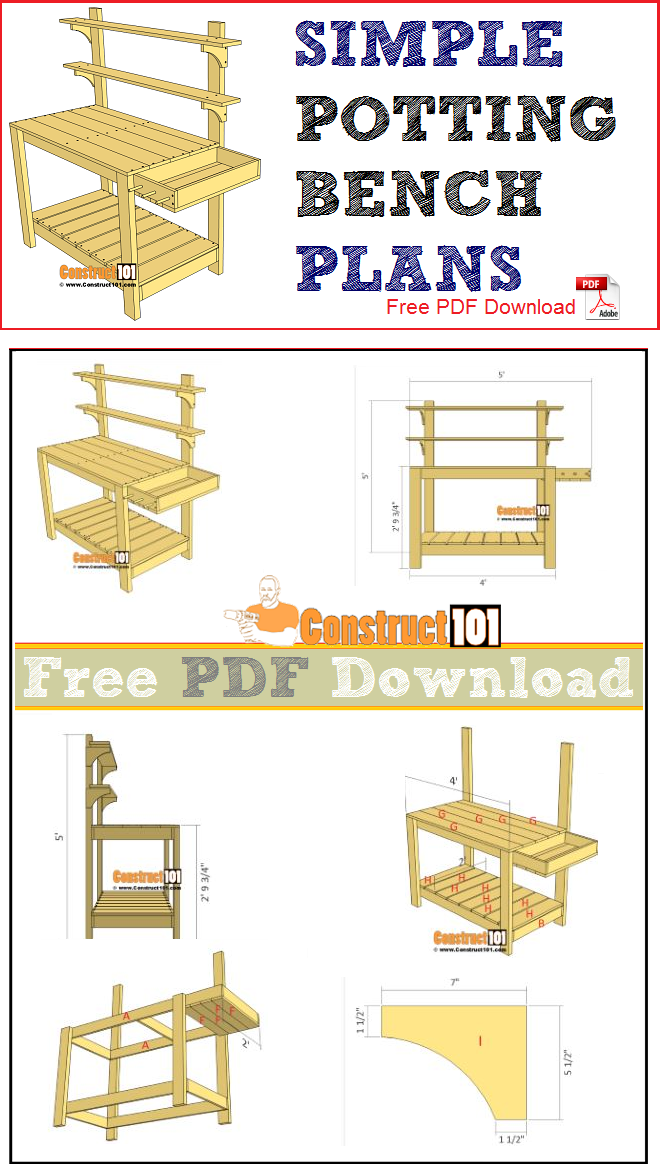 Simple potting bench plans, free PDF Download, material list, and step-by-step drawings.