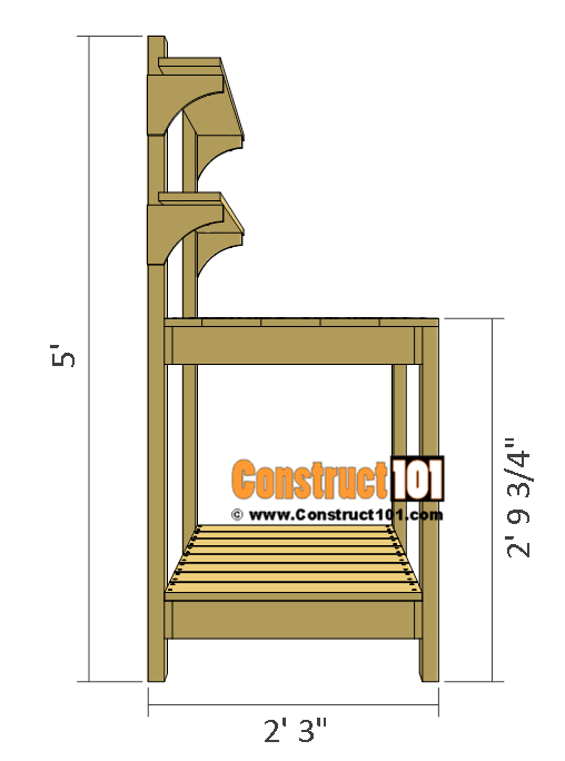 Simple potting bench plans side view.