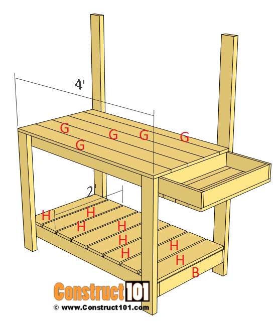Simple potting bench plans step 5