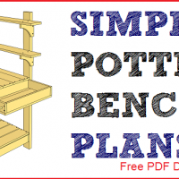 Simple potting bench plans free PDF download, material list, and drawings.