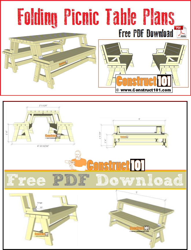 Folding picnic table plans, includes material list, and free PDF download.