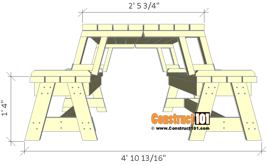 Folding picnic table plans, side view.