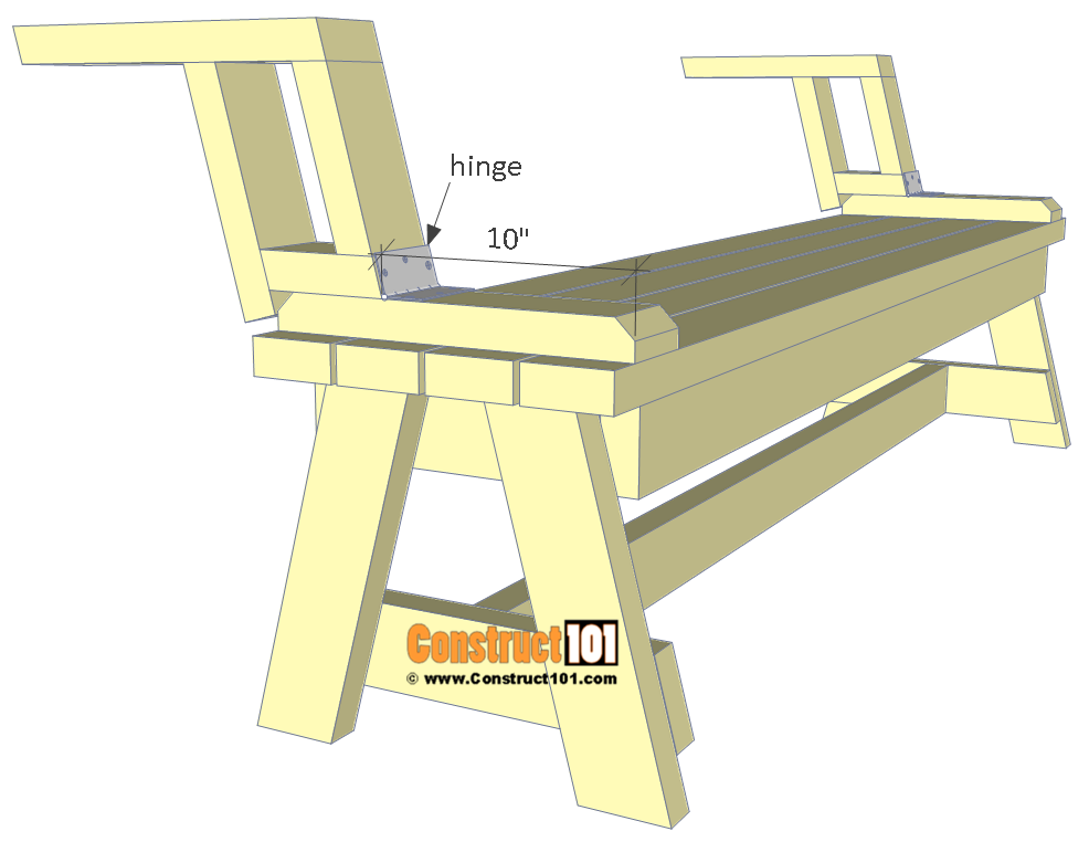 Folding picnic table plans, step 10.