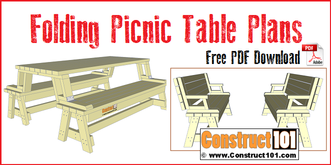 Folding Picnic Table Plans. Free PDF Download, Step By Step Easy To
