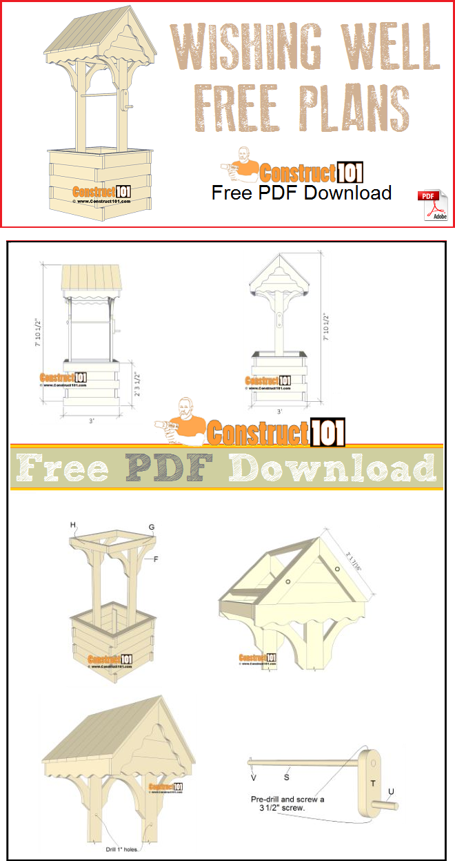 Wishing well plans free PDF download, material list, drawings, and step-by-step instructions.