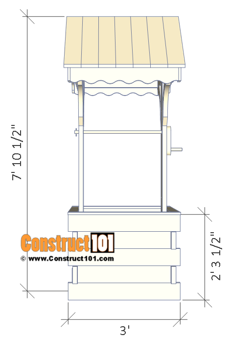Wishing well plans, front view.