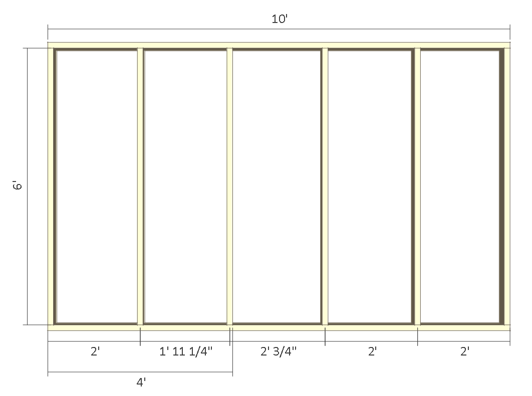 8x10 chicken coop plans - front wall frame 1.
