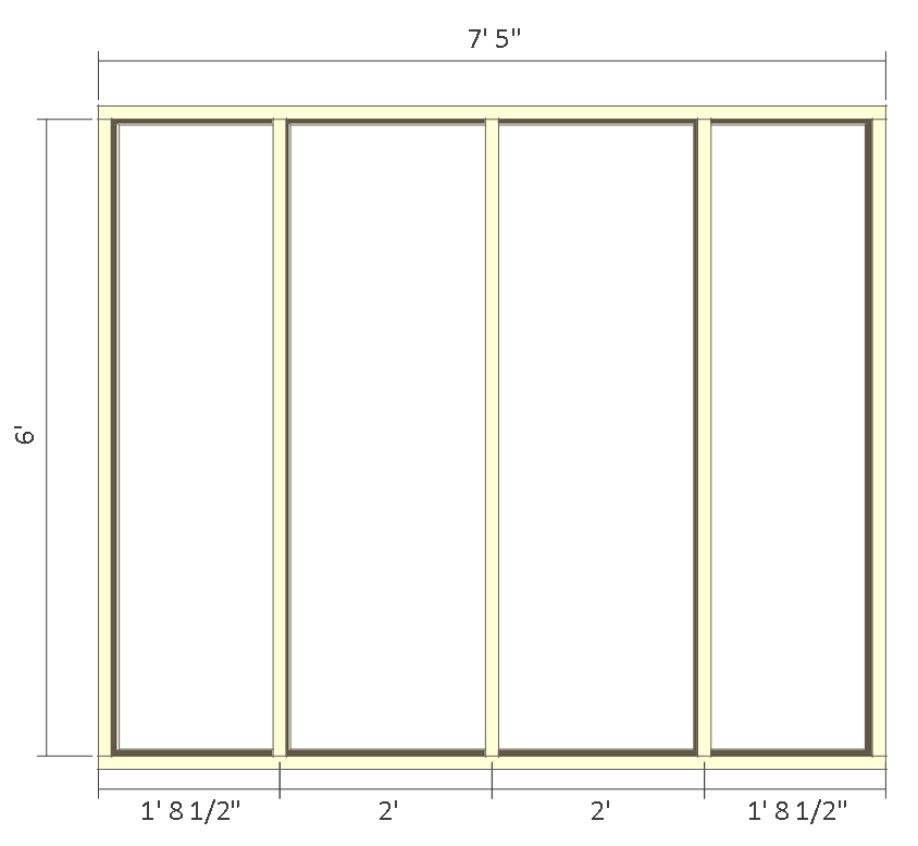 8x10 chicken coop plans - left wall frame 1.