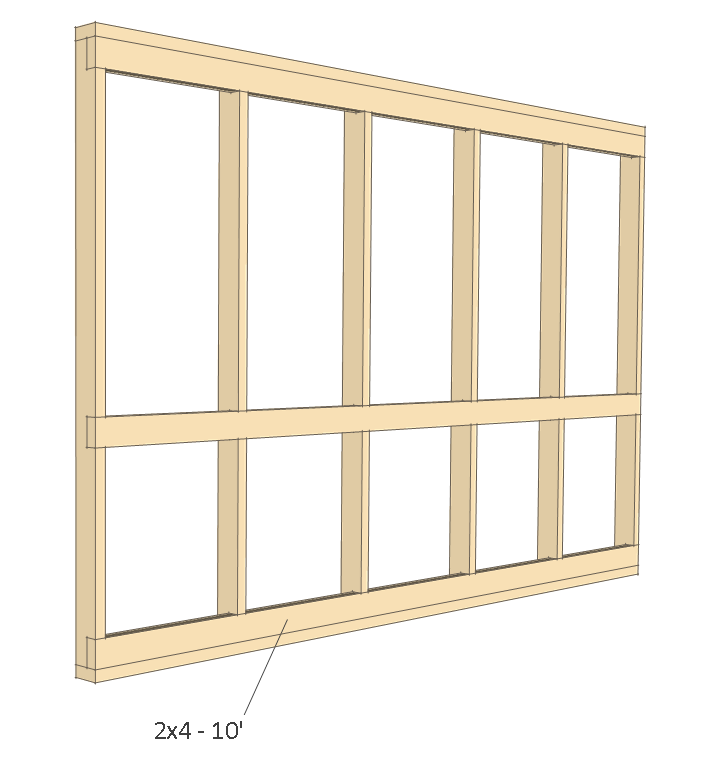 8x10 chicken coop plans - back wall frame 3.