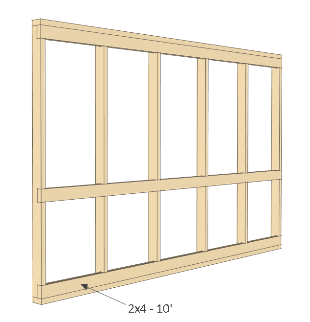 8x10 chicken coop plans - front wall frame 3.