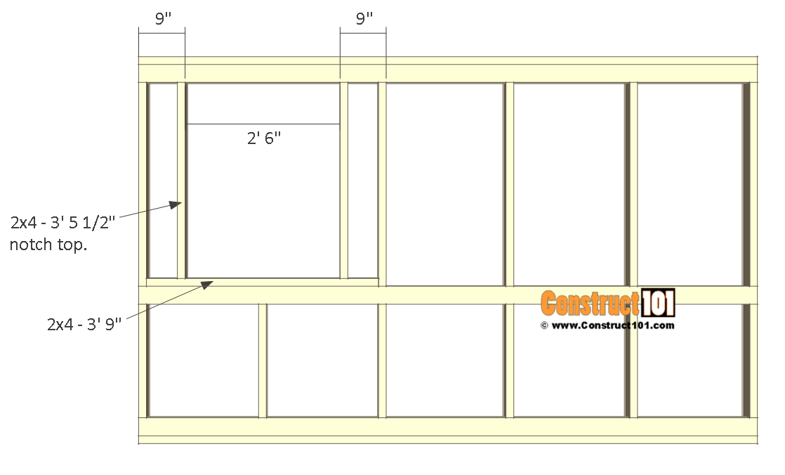 8x10 chicken coop plans - front wall frame 4.