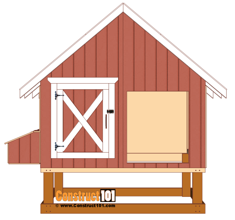 4x8 chicken coop plans, attach door hinges and install door to coop.