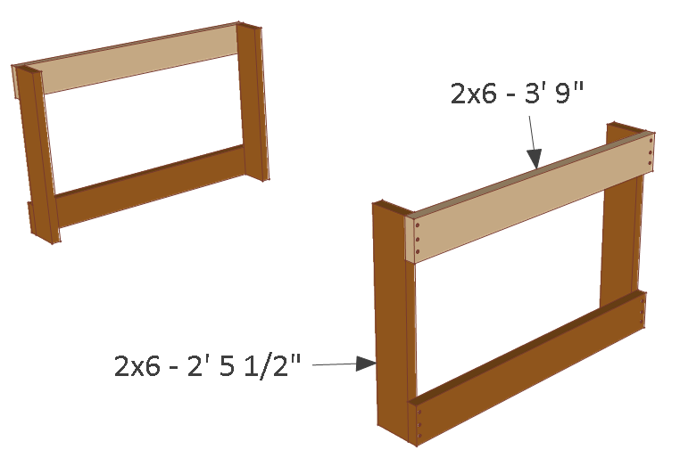 4x8 chicken coop plans, floor frame sides.