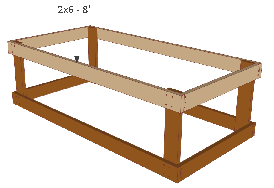 4x8 chicken coop plans, floor frame front and back.