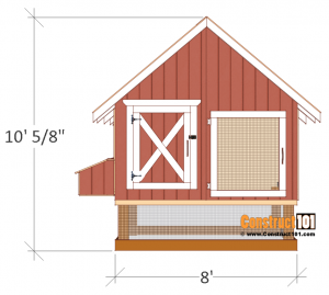 4x8 chicken coop plans front view.