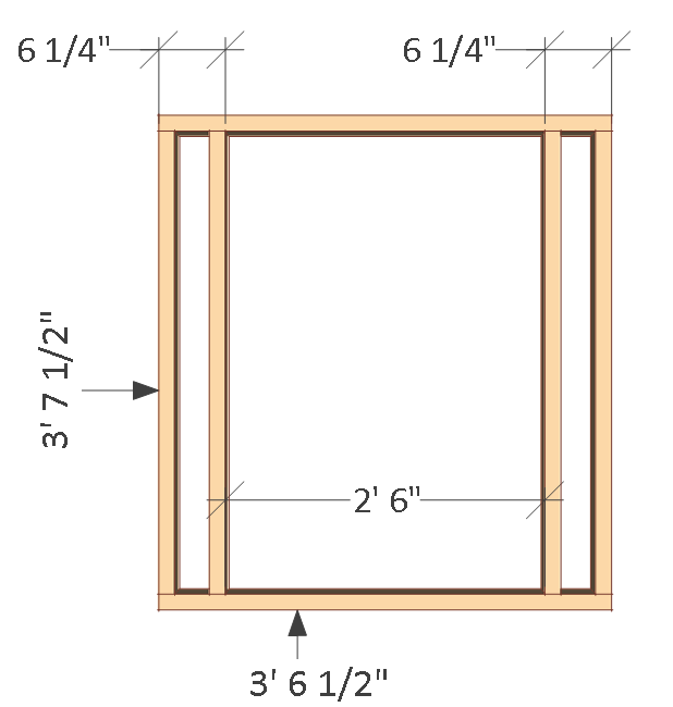 4x8 chicken coop plans, front wall frame.