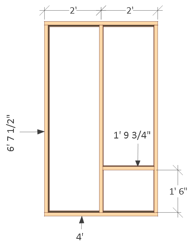 4x8 chicken coop plans, inside wall frame.