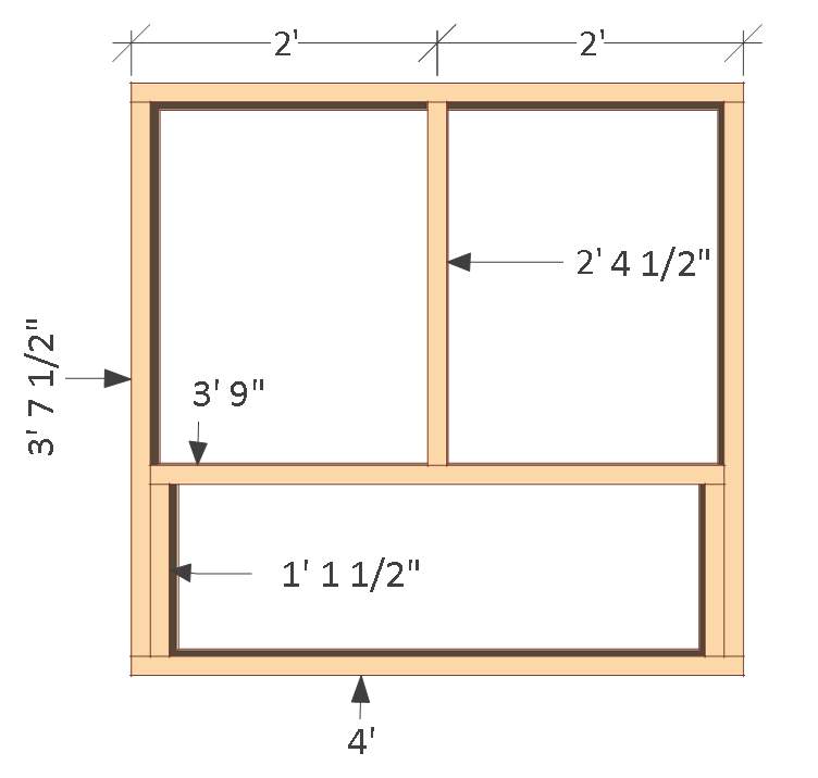4x8 chicken coop plans, left wall frame.