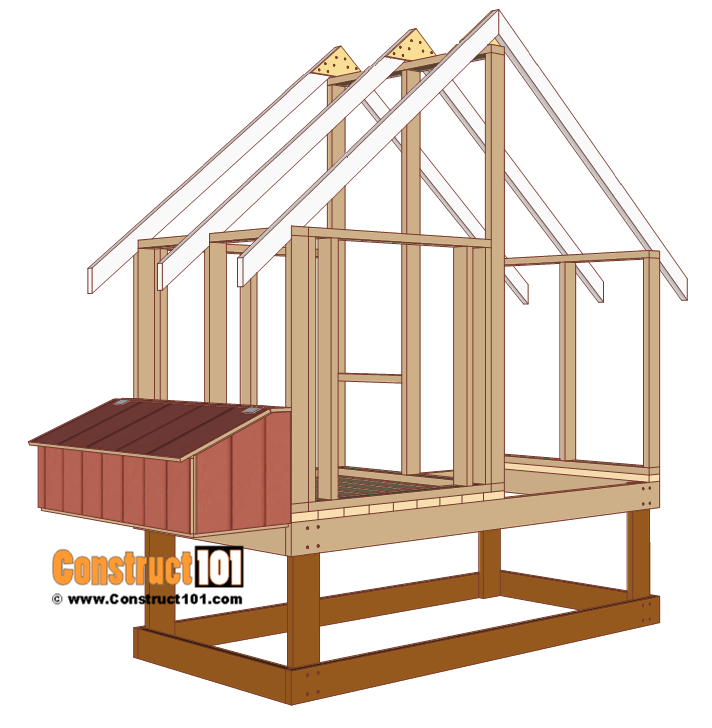 4x8 chicken coop plans, build and install nest box.