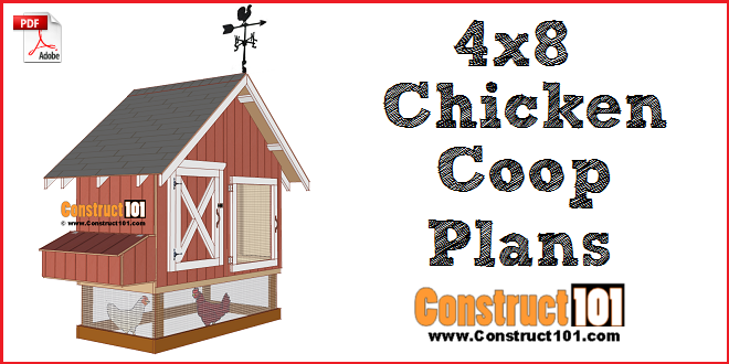 4x8 chicken coop plans, PDF download, material list, and step-by-step drawings.
