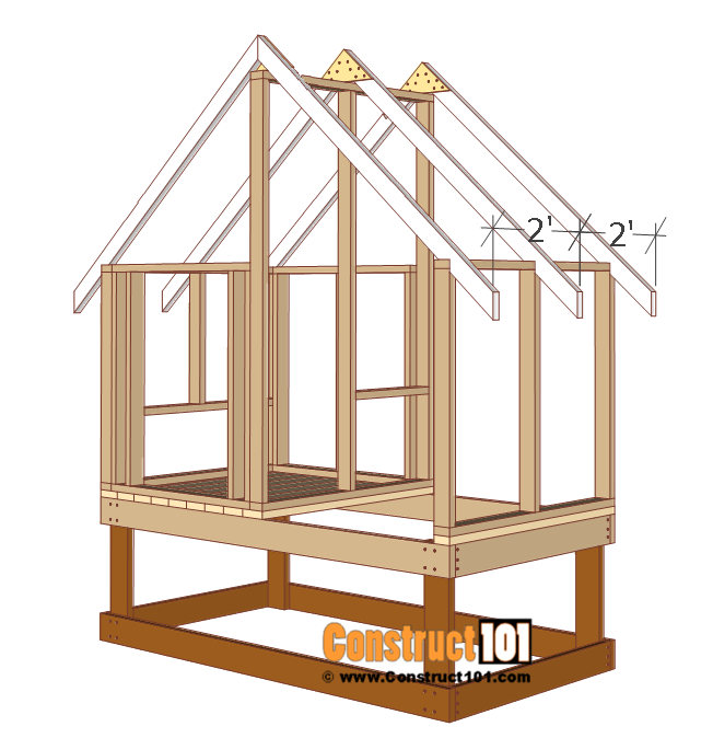 4x8 chicken coop plans, rafters, truss, installed to coop.