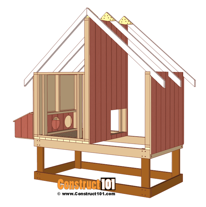 4x8 chicken coop plans, install siding to the right, left, and inside walls.