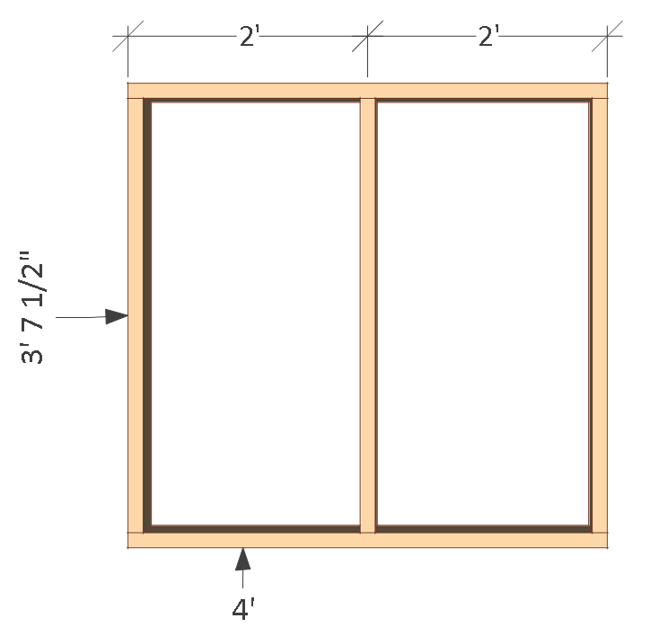 4x8 chicken coop plans, right wall frame.