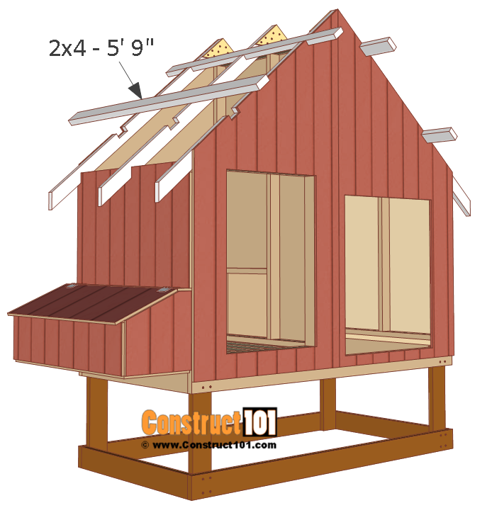 Easy Diy 4 X6 Chicken Coop Hen House Plans Pdf: 4x8-chicken-coop-plans-roof-brace