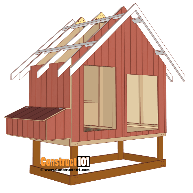 4x8 chicken coop plans, install front and back trim.